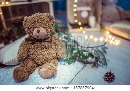 home handmade Christmas decor with gifts and books