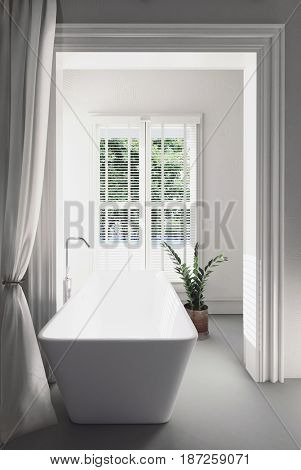 Bright airy modern white bathroom interior with a rectangular tub facing a large window overlooking the garden in a 3d rendering