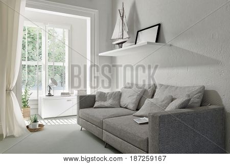 Large comfortable grey upholstered sofa in a modern white living room interior with bright window overlooking trees in a 3d rendering