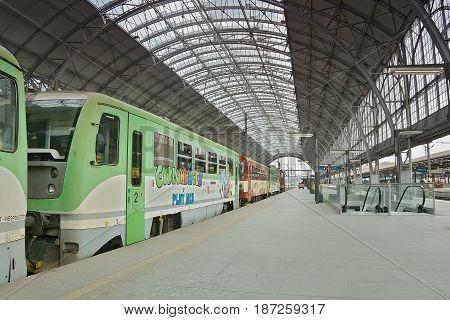 Praha, Czech Republic - May 08, 2017: Motor Train Named Cyklohracek In Vestibule Of Main Train Stati