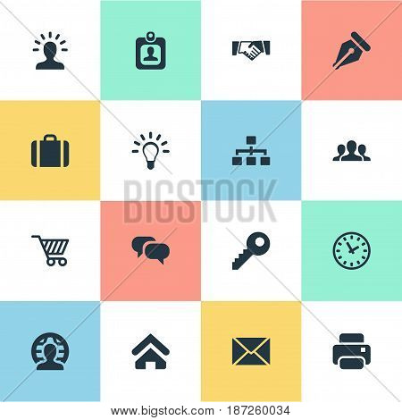 Vector Illustration Set Of Simple B2B Icons. Elements Clock, Partnership, Chatting And Other Synonyms Network, Member And Mind.