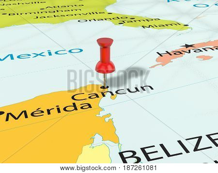 Pushpin On Cancun Map 3D Illustration