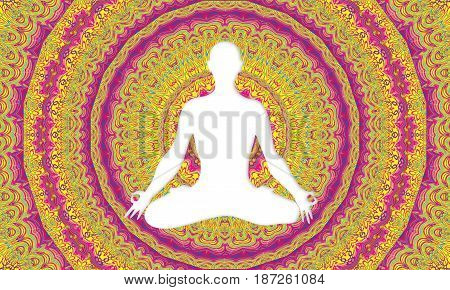 White silhouette of man doing yoga in lotus flower position with multicolored mandala background