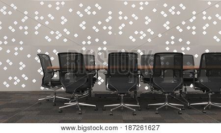 Business conference table in office with patterned wall in background. 3d Rendering.