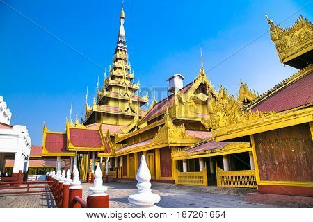 The Royal palace in Mandalay, Myanmar.(Burma)