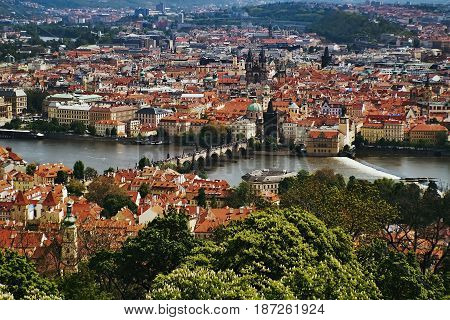 View To Charles Bridge From Petrinska Rozhledna Tower In Sping Prague In Czech Republic
