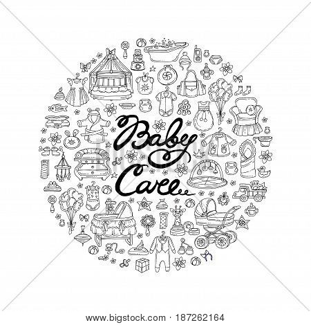 Decorative cover with hand drawn isolated symbols of newborn baby on white background. Illustration on the theme of baby care. Vector background for use in design