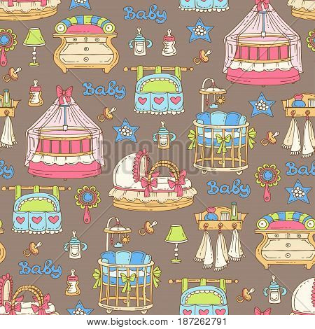 Vector seamless pattern with hand drawn furniture accessories for newborn baby on brown color. Pattern on the theme of children's room. Background for use in design packing fabric web site web page