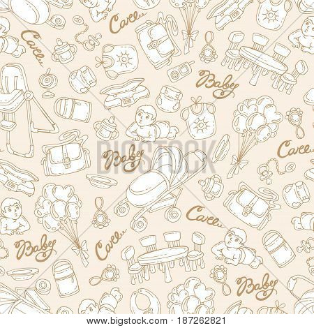 Vector seamless pattern with hand drawn goods and accessories for little baby on beige color. Pattern on the theme of newborn baby. Background for use in design packing fabric web site web page