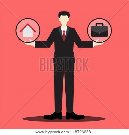 home and work on the businessman balance scale , balance life concept, between your home and your work, vector illustration