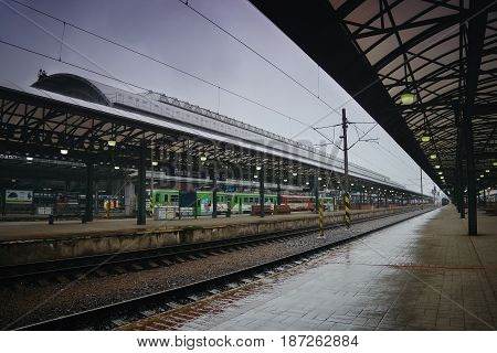 Praha Czech republic - May 08 2017: main train station in Prague city during first spring heavy rain