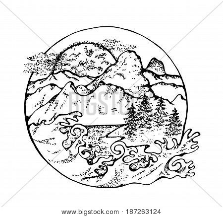 Illustration of fir, moon, clouds and Japanese waves.