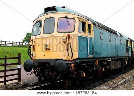 A Vintage Classic Diesel Railway Train Engine.