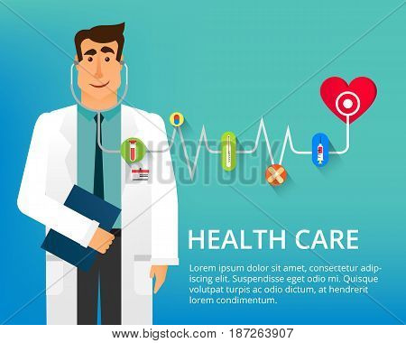 Handsome doctor with stethoscope and many different medical icons. Cardiologist Dr. Vector illustration can be used in the brochures and websites.