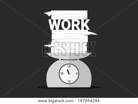 work overtime, work and pile of paper on day clock scales,
