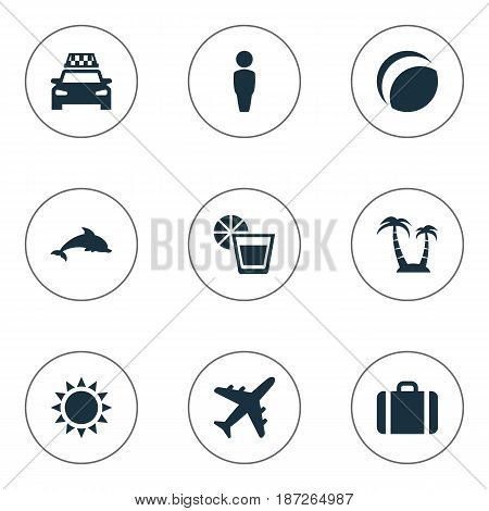 Vector Illustration Set Of Simple Seaside Icons. Elements Beach Games, Suitcase, Palm And Other Synonyms Taxi, Male And Drink.