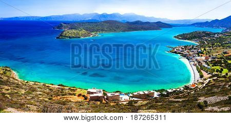 Turquoise sea and view of Spinalonga island. Crete, Greece
