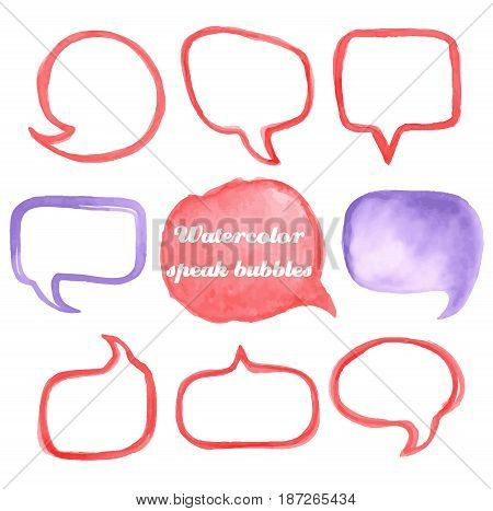 Vector collection of watercolor speech bubbles shapes on white background. Hand painted set