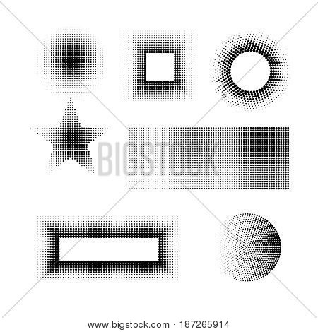 Halftone shadow gradient doted frame banner  advertising set of half tones