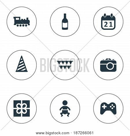 Vector Illustration Set Of Simple Celebration Icons. Elements Cap, Train, Game And Other Synonyms Fizz, Beverage And Champagne.
