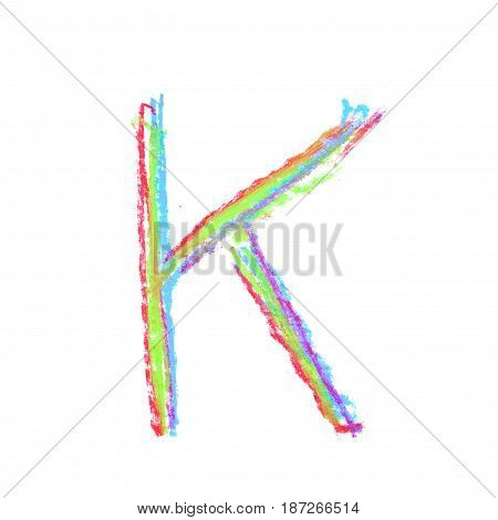 Single hand drawn with the colorful chalk K letter isolated over the white background