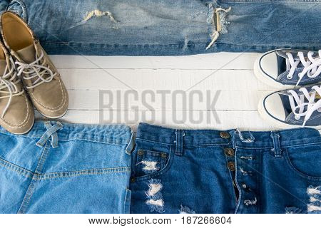Dress Accessories women Jeans and hats sunglasses shoes on a white background.