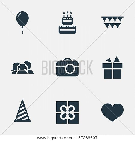 Vector Illustration Set Of Simple Birthday Icons. Elements Ribbon, Confectionery, Camera And Other Synonyms Confectionery, Sweetmeat And Family.