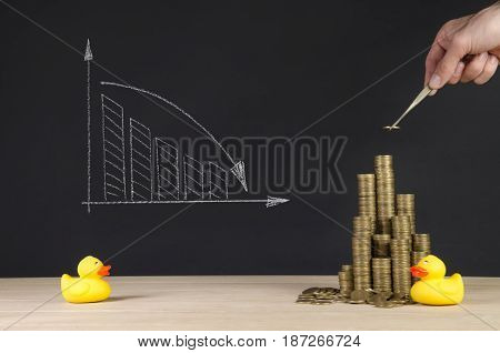 the arrangement of coins on grey background