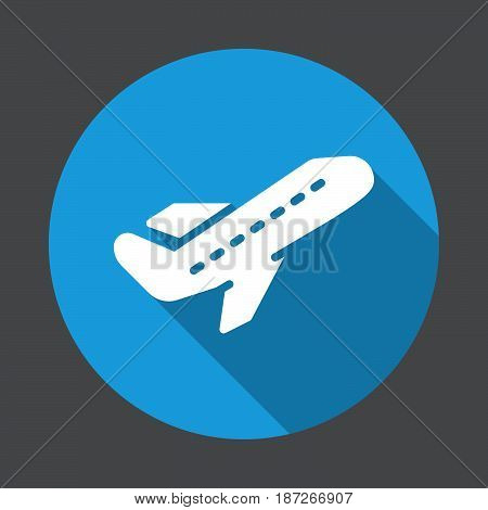 Departure Airplane take off flat icon. Round colorful button circular vector sign with long shadow effect. Flat style design