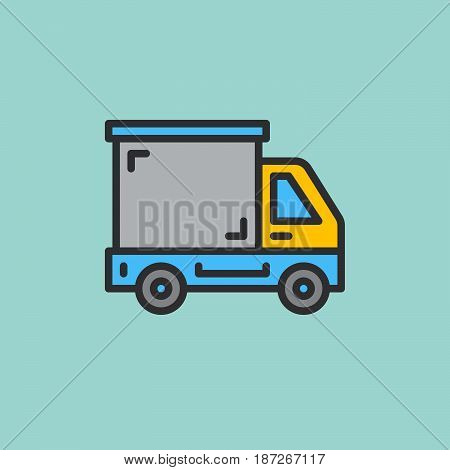 Delivery truck lorry filled outline icon line vector sign flat colorful pictogram. Symbol logo illustration. Pixel perfect