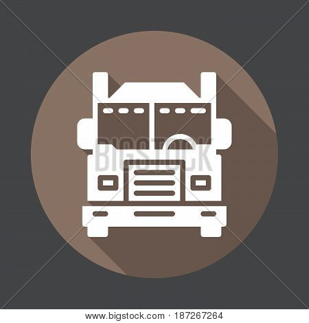 Interstate truck flat icon. Round colorful button circular vector sign with long shadow effect. Flat style design