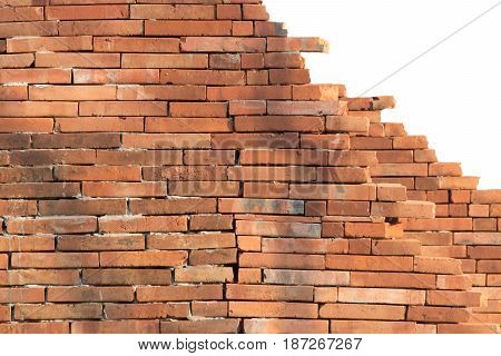 Old red brick wall. pattern white background isolated