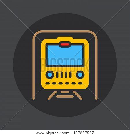 Subway underground flat icon. Round colorful button circular vector sign. Flat style design