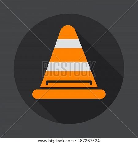 Road traffic cone flat icon. Round colorful button circular vector sign with long shadow effect. Flat style design