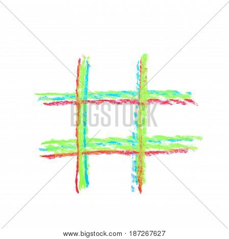 Hand drawn with colorful chalks hashtag symbol isolated over the white background