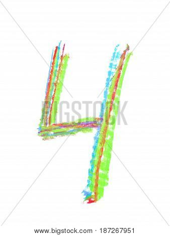 Hand drawn with the colorful chalks number four symbol isolated over the white background