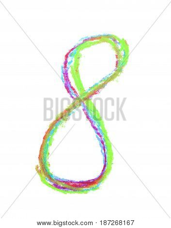 Hand drawn with the colorful chalks number eight symbol isolated over the white background