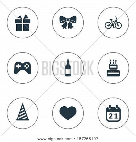 Vector Illustration Set Of Simple Celebration Icons. Elements Cap, Beverage, Soul And Other Synonyms Resonate, Jingle And Sweetmeat.