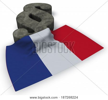 paragraph symbol and flag of france - 3d rendering