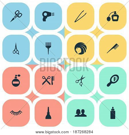 Vector Illustration Set Of Simple Beauty Icons. Elements Manicure, Glass, Comb And Other Synonyms Fragrance, Unisex And Hairstylist.