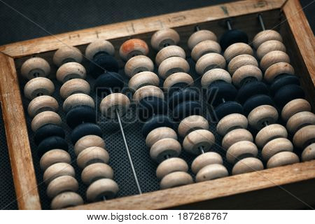 old scores, vintage style in a dark vein. wooden abacus