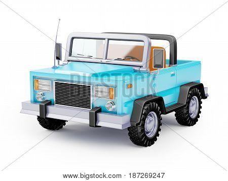 Blue safari suv in retro cartoon style isolated on white. 3d illustration.