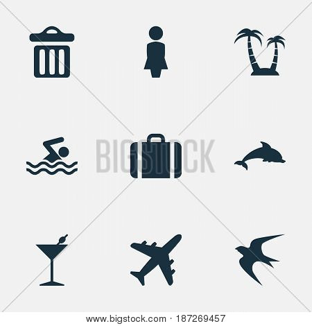 Vector Illustration Set Of Simple Seaside Icons. Elements Cocktail, Woman, Swallow And Other Synonyms Bar, Dustbin And Trash.