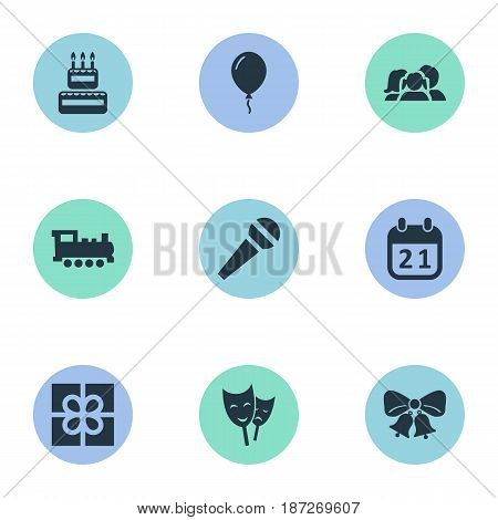 Vector Illustration Set Of Simple Holiday Icons. Elements Box, Aerostat, Mask And Other Synonyms Sweetmeat, Present And Speech.