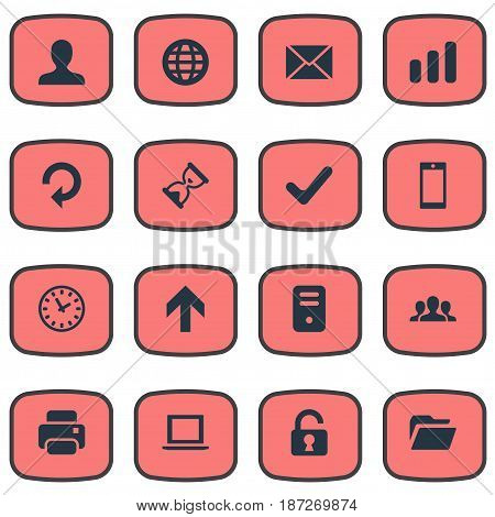Vector Illustration Set Of Simple Application Icons. Elements Notebook, Statistics, Dossier And Other Synonyms Sandglass, Padlock And PC.