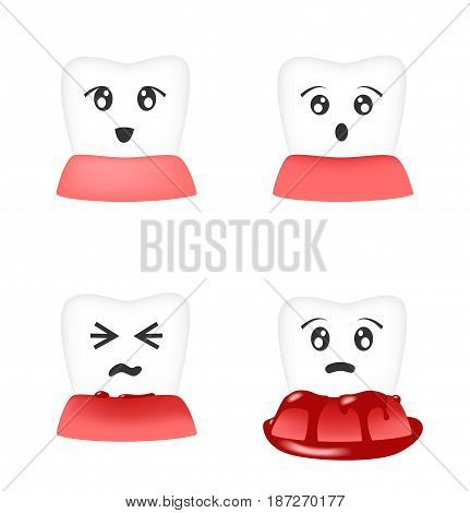 Gingivitis and blood on tooth vector on white background