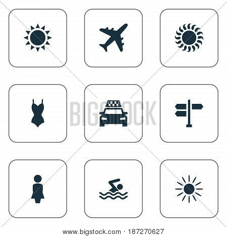 Vector Illustration Set Of Simple Beach Icons. Elements Taxi, Airplane, Sun And Other Synonyms Swimming, Man And Airplane.