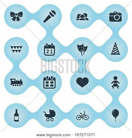 Vector Illustration Set Of Simple Celebration Icons. Elements Days, Bicycle, Special Day And Other Synonyms Jingle, Speech And Party.
