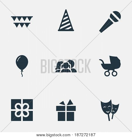 Vector Illustration Set Of Simple Birthday Icons. Elements Aerostat, Mask, Box And Other Synonyms Cap, Hat And Flags.