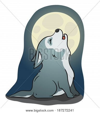 Hand drawn picture of a cute little wolf sitting and howling at the moon cartoon vector illustration